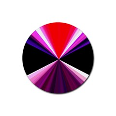 Red And Purple Triangles Abstract Pattern Background Rubber Round Coaster (4 Pack)  by Nexatart