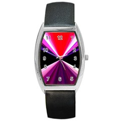 Red And Purple Triangles Abstract Pattern Background Barrel Style Metal Watch
