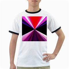 Red And Purple Triangles Abstract Pattern Background Ringer T Shirts