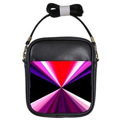 Red And Purple Triangles Abstract Pattern Background Girls Sling Bags by Nexatart