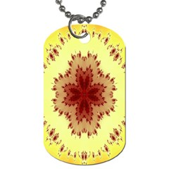 Yellow Digital Kaleidoskope Computer Graphic Dog Tag (one Side)