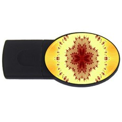 Yellow Digital Kaleidoskope Computer Graphic Usb Flash Drive Oval (4 Gb) by Nexatart