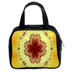 Yellow Digital Kaleidoskope Computer Graphic Classic Handbags (2 Sides)