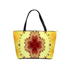 Yellow Digital Kaleidoskope Computer Graphic Shoulder Handbags