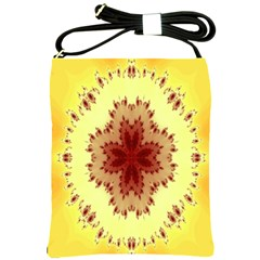 Yellow Digital Kaleidoskope Computer Graphic Shoulder Sling Bags