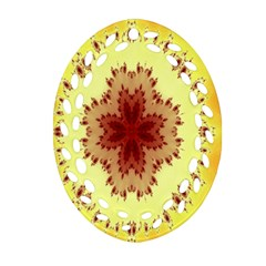 Yellow Digital Kaleidoskope Computer Graphic Oval Filigree Ornament (two Sides)