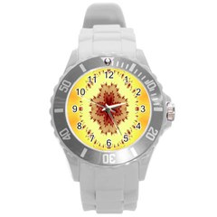 Yellow Digital Kaleidoskope Computer Graphic Round Plastic Sport Watch (l) by Nexatart