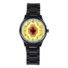Yellow Digital Kaleidoskope Computer Graphic Stainless Steel Round Watch by Nexatart