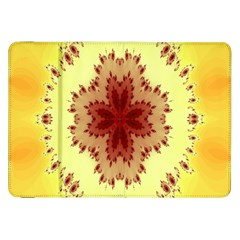 Yellow Digital Kaleidoskope Computer Graphic Samsung Galaxy Tab 8 9  P7300 Flip Case by Nexatart