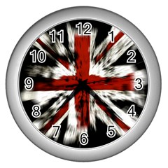 British Flag Wall Clocks (silver)  by Nexatart