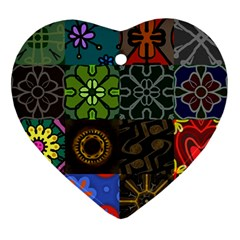 Digitally Created Abstract Patchwork Collage Pattern Ornament (heart)