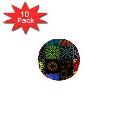 Digitally Created Abstract Patchwork Collage Pattern 1  Mini Magnet (10 Pack)