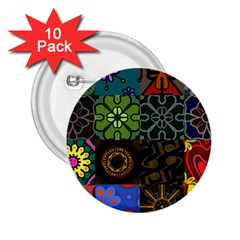 Digitally Created Abstract Patchwork Collage Pattern 2 25  Buttons (10 Pack)  by Nexatart