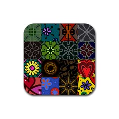 Digitally Created Abstract Patchwork Collage Pattern Rubber Square Coaster (4 Pack)  by Nexatart