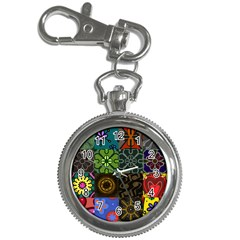 Digitally Created Abstract Patchwork Collage Pattern Key Chain Watches