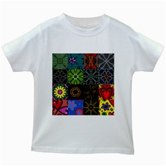 Digitally Created Abstract Patchwork Collage Pattern Kids White T Shirts