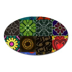 Digitally Created Abstract Patchwork Collage Pattern Oval Magnet by Nexatart