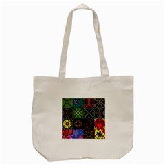 Digitally Created Abstract Patchwork Collage Pattern Tote Bag (cream) by Nexatart