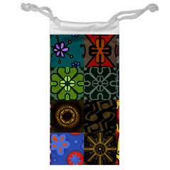 Digitally Created Abstract Patchwork Collage Pattern Jewelry Bag