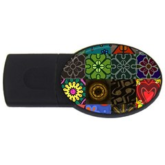 Digitally Created Abstract Patchwork Collage Pattern Usb Flash Drive Oval (4 Gb) by Nexatart