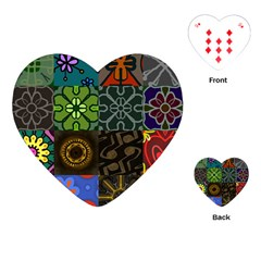 Digitally Created Abstract Patchwork Collage Pattern Playing Cards (heart)  by Nexatart
