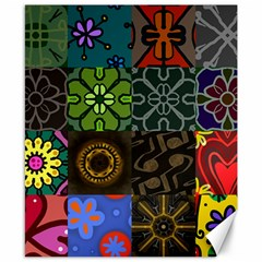 Digitally Created Abstract Patchwork Collage Pattern Canvas 8  X 10  by Nexatart