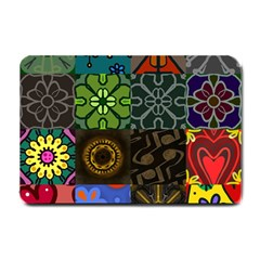 Digitally Created Abstract Patchwork Collage Pattern Small Doormat  by Nexatart