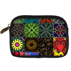 Digitally Created Abstract Patchwork Collage Pattern Digital Camera Cases by Nexatart