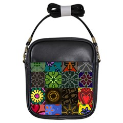 Digitally Created Abstract Patchwork Collage Pattern Girls Sling Bags by Nexatart