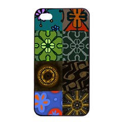 Digitally Created Abstract Patchwork Collage Pattern Apple Iphone 4/4s Seamless Case (black)