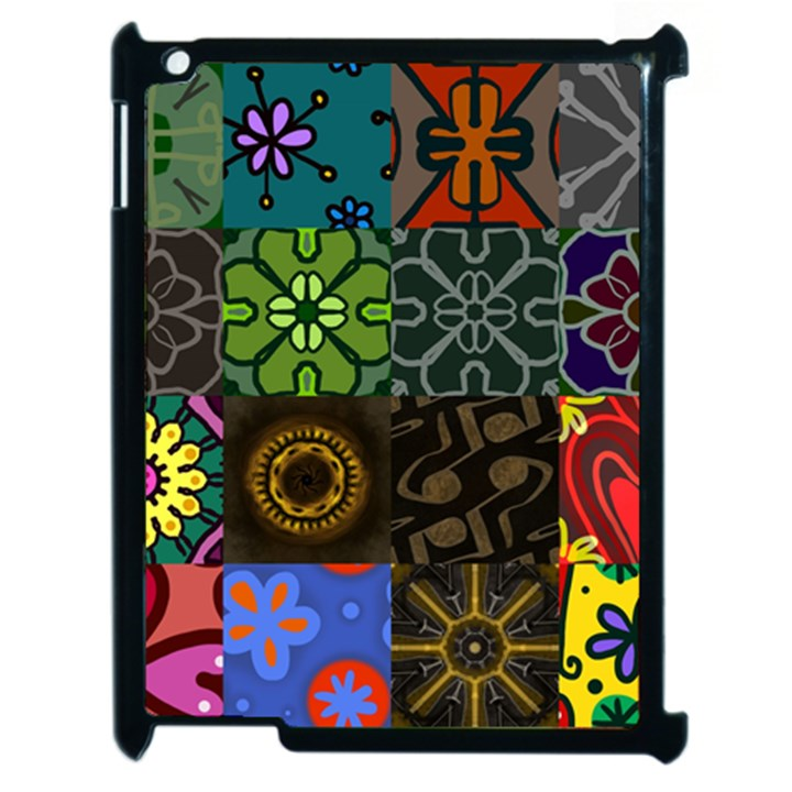 Digitally Created Abstract Patchwork Collage Pattern Apple iPad 2 Case (Black)