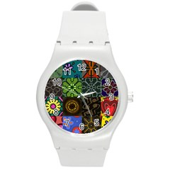 Digitally Created Abstract Patchwork Collage Pattern Round Plastic Sport Watch (m) by Nexatart