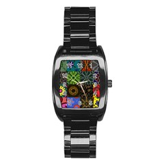 Digitally Created Abstract Patchwork Collage Pattern Stainless Steel Barrel Watch