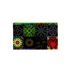 Digitally Created Abstract Patchwork Collage Pattern Cosmetic Bag (xs) by Nexatart