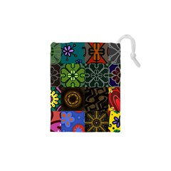 Digitally Created Abstract Patchwork Collage Pattern Drawstring Pouches (xs)