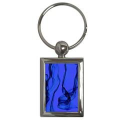 Blue Velvet Ribbon Background Key Chains (rectangle)  by Nexatart