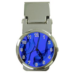Blue Velvet Ribbon Background Money Clip Watches by Nexatart