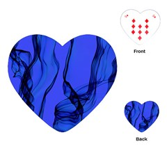 Blue Velvet Ribbon Background Playing Cards (heart)  by Nexatart