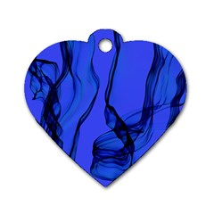 Blue Velvet Ribbon Background Dog Tag Heart (one Side)