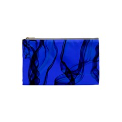 Blue Velvet Ribbon Background Cosmetic Bag (small)  by Nexatart
