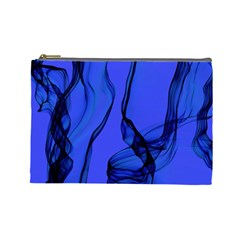 Blue Velvet Ribbon Background Cosmetic Bag (large)  by Nexatart