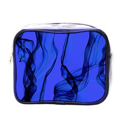 Blue Velvet Ribbon Background Mini Toiletries Bags by Nexatart