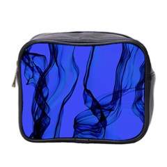 Blue Velvet Ribbon Background Mini Toiletries Bag 2 Side by Nexatart