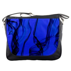 Blue Velvet Ribbon Background Messenger Bags