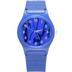 Blue Velvet Ribbon Background Round Plastic Sport Watch (s) by Nexatart