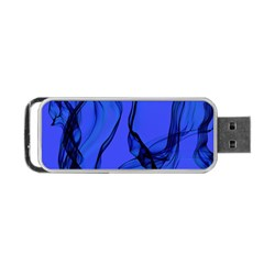 Blue Velvet Ribbon Background Portable Usb Flash (two Sides) by Nexatart