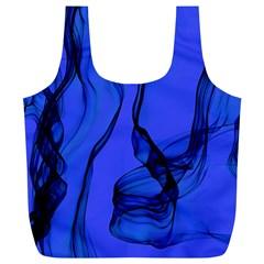 Blue Velvet Ribbon Background Full Print Recycle Bags (l)