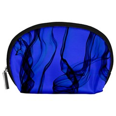 Blue Velvet Ribbon Background Accessory Pouches (large)  by Nexatart