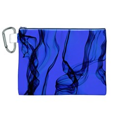 Blue Velvet Ribbon Background Canvas Cosmetic Bag (xl) by Nexatart