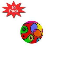 Digitally Painted Patchwork Shapes With Bold Colours 1  Mini Magnet (10 Pack)